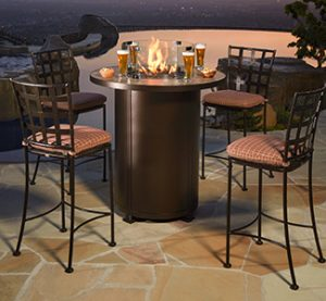 outdoor seating set with firepit bar height